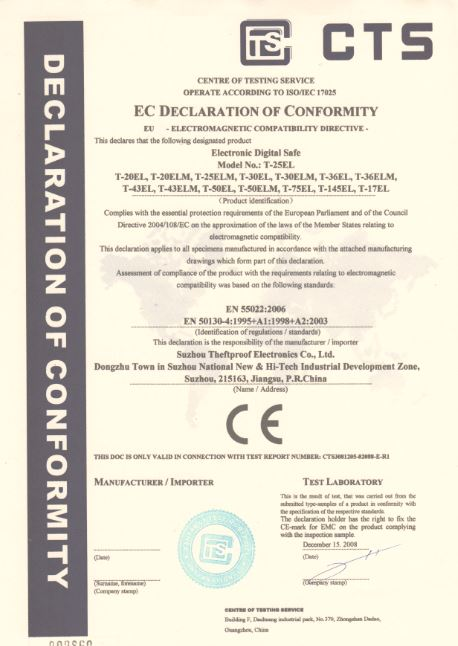 Suzhou Theftproof has CE certification