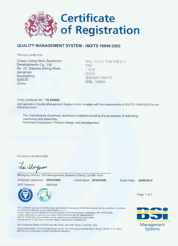 Ts16949:2002 Certificate