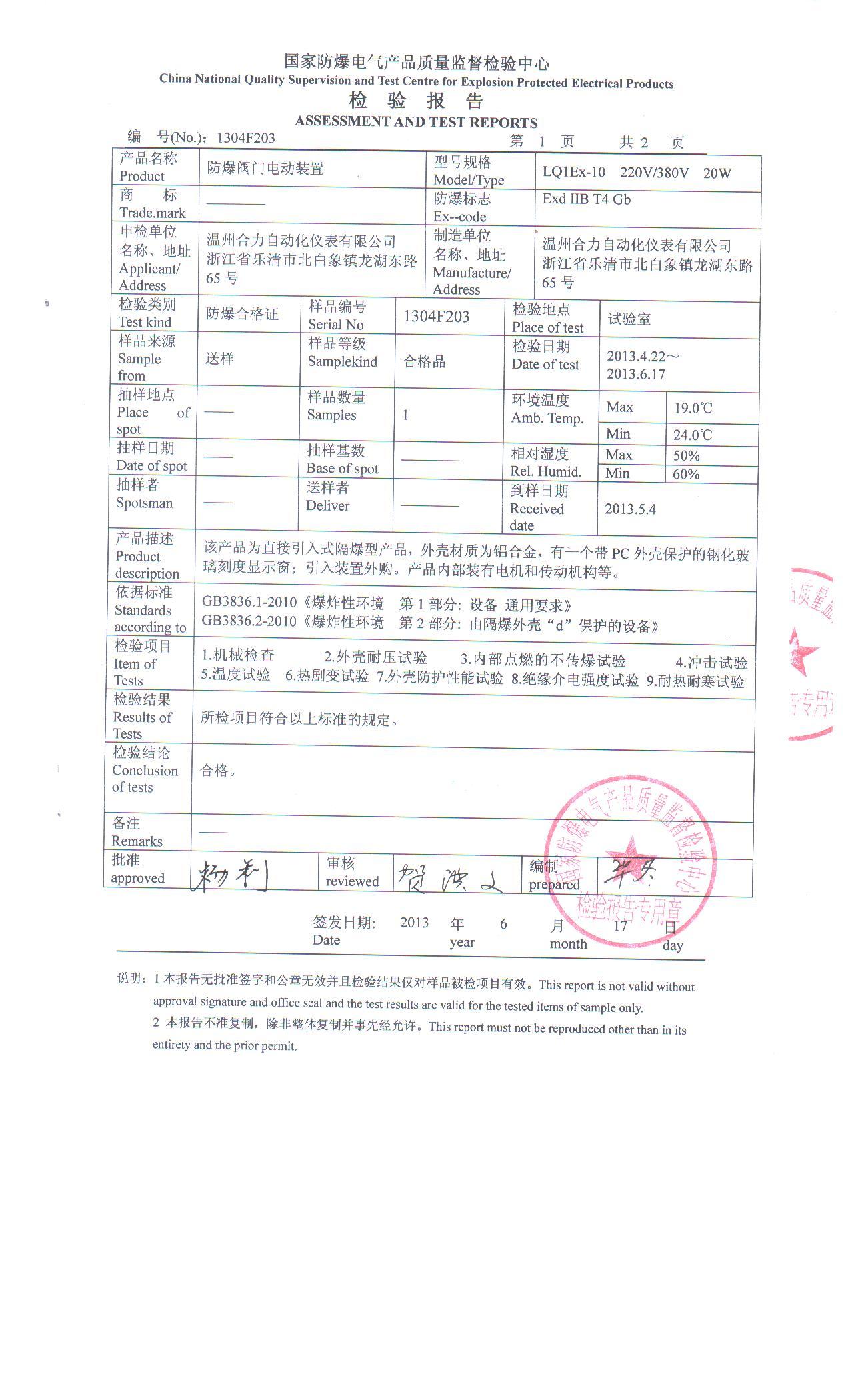 LQ1Ex-10-ZA CNEX Certificate