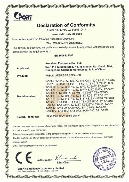 CE Certificate LVD Directive