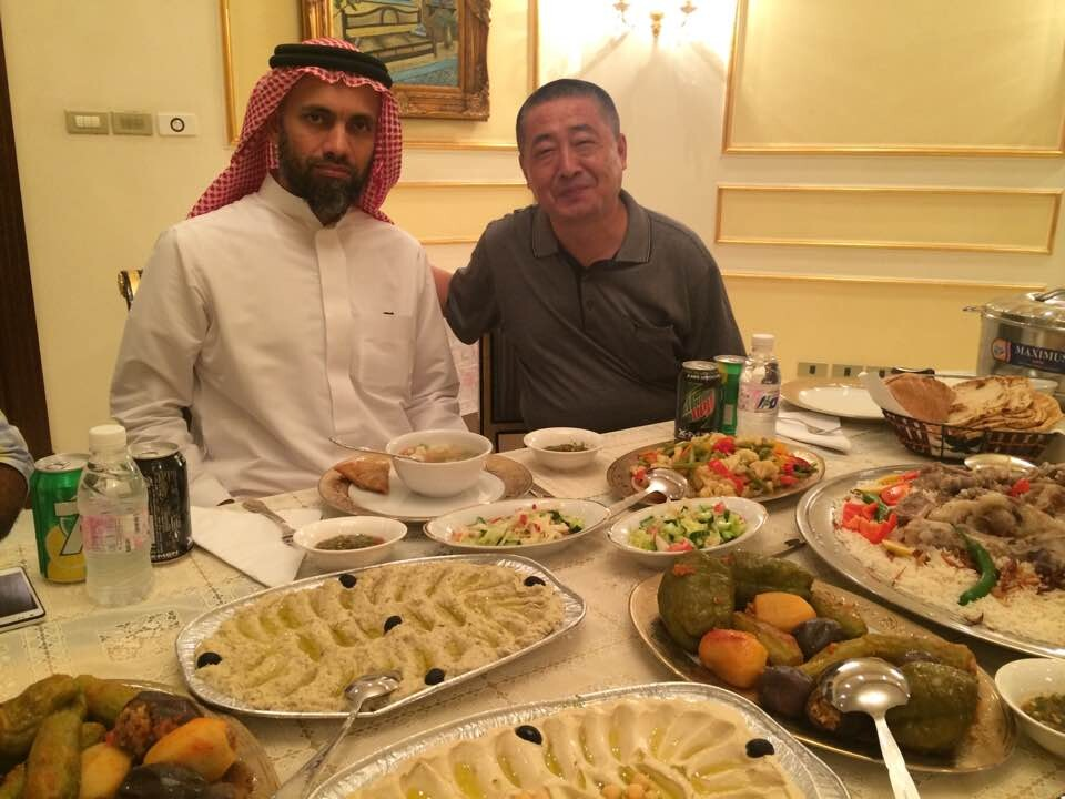 Having dinner with the Saudi customer
