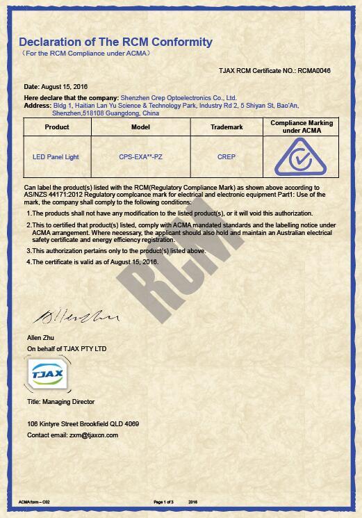 RCM Certificate to Australian Market