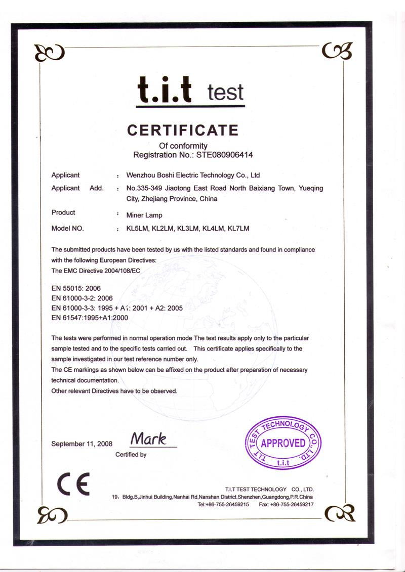 CE certificate for miner light