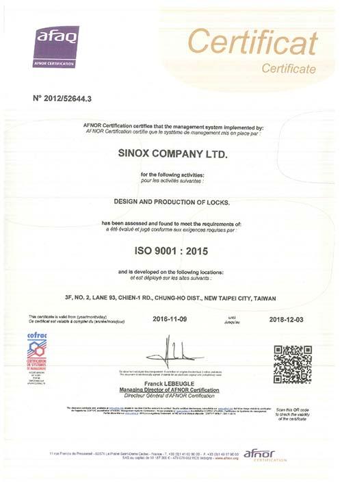 Sinox ISO 9001_2015