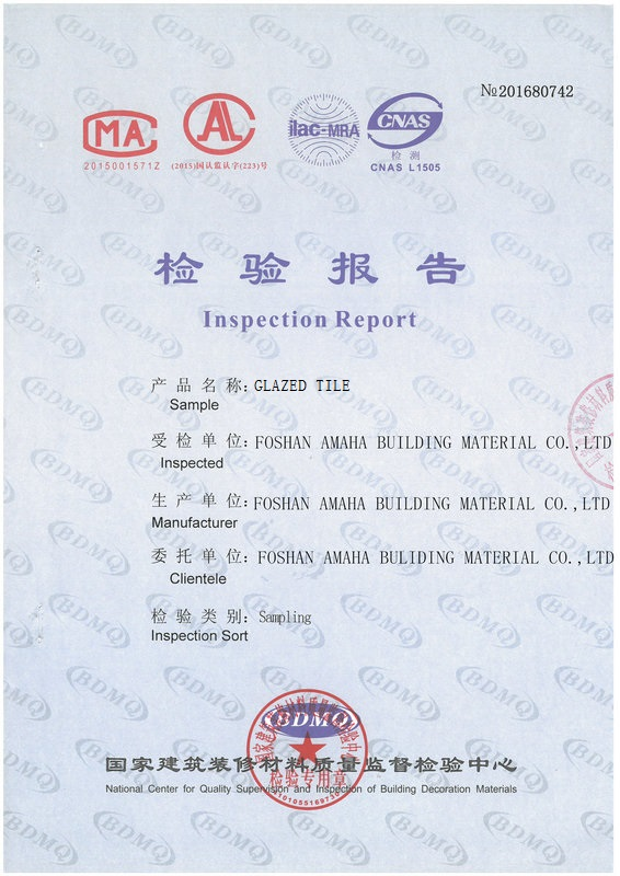 Glazed Tile 600*600MM Inspection Report -P1