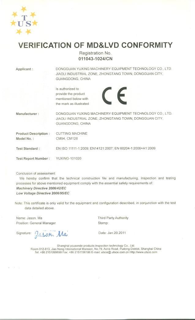 Verification of Md&LVD Conformity Registration No. 011043-1024/Cn