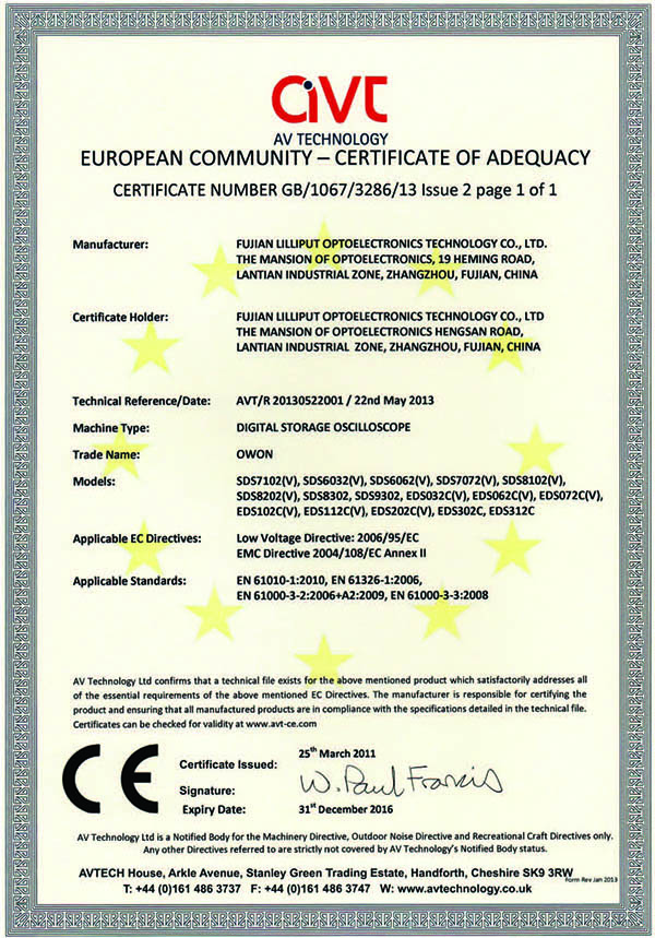 CE Certification of SDS series