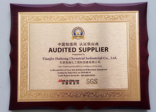 Audited Supplier certificate 2014-2015