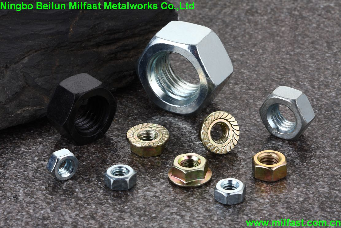 Hex Nuts & Flange Nuts with Black Finish & Zinc(Yellow) Plated