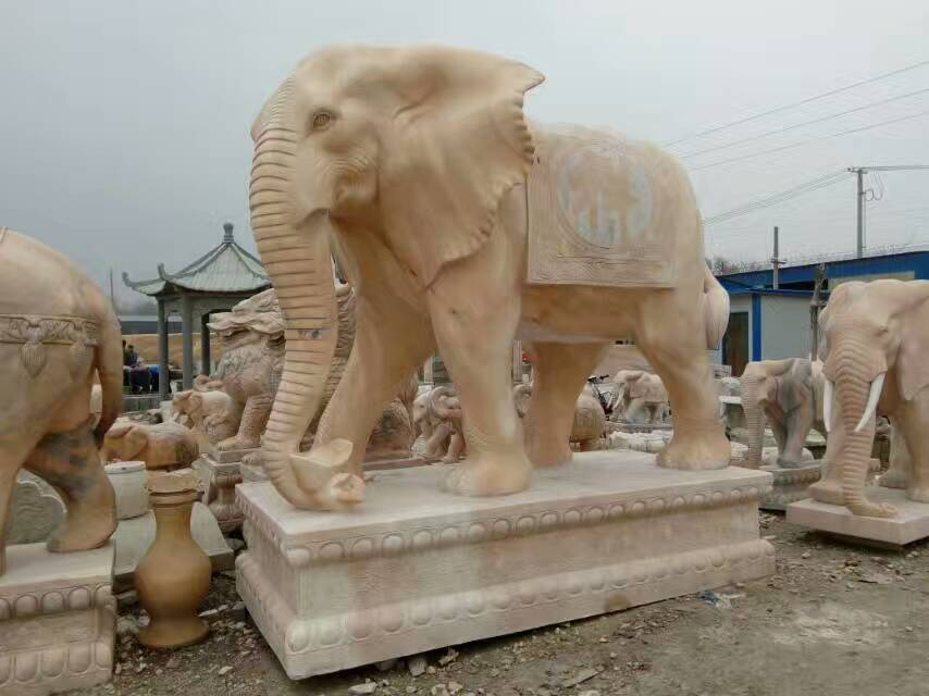 Pink marble carving Elephant