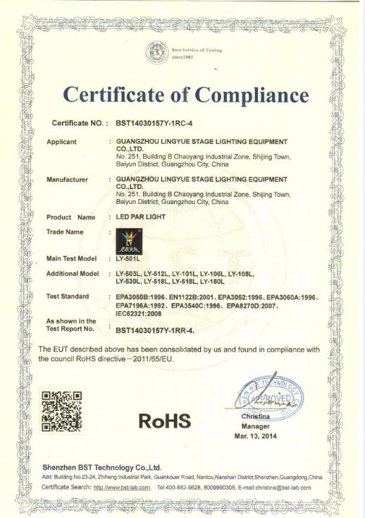 CE ROHS Certificate beam spot moving head