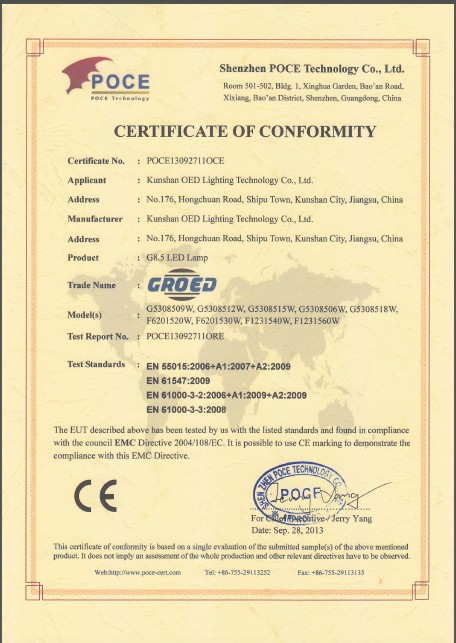 CE Certificate for G8.5 LED lamps