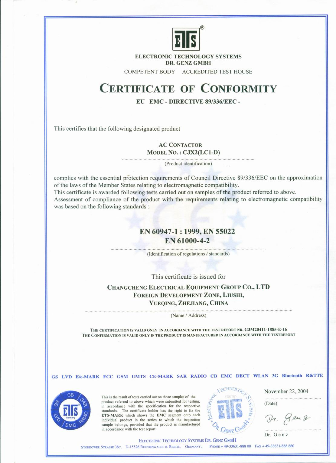 CE Certificate for CJX2(LC1) AC Contactor