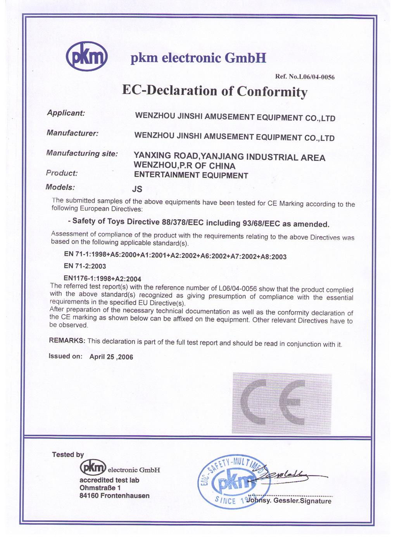 playground CE certificate
