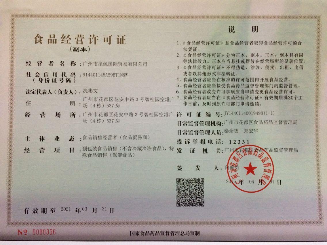 Food sales certificate