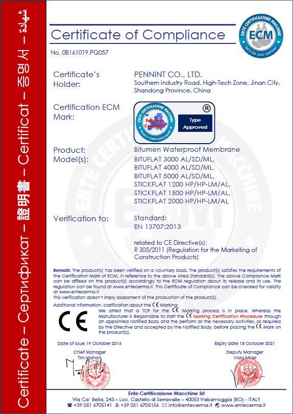 bitumen CE certificate