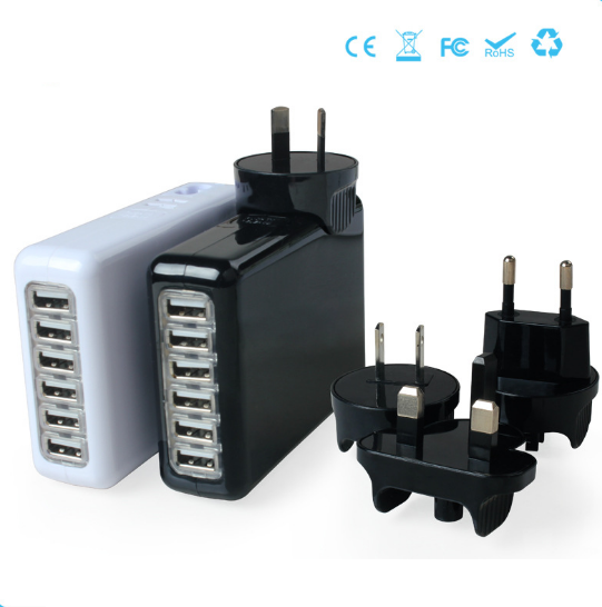 6 Ports Travel Charger with Interchangeable Plugs 5V=8A