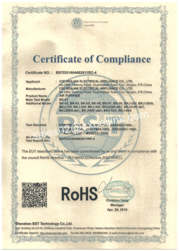 ROHS 2.0 certification