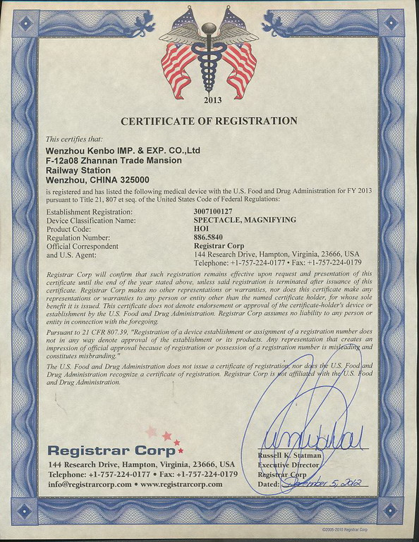 FDA Registered certificate1
