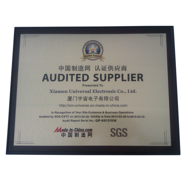 Audited Supplier Certificate - 2013