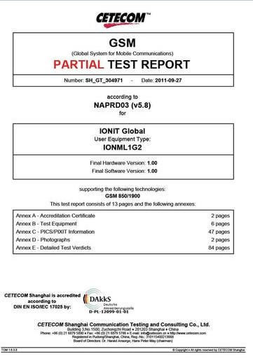 Cetecom GSM Test report
