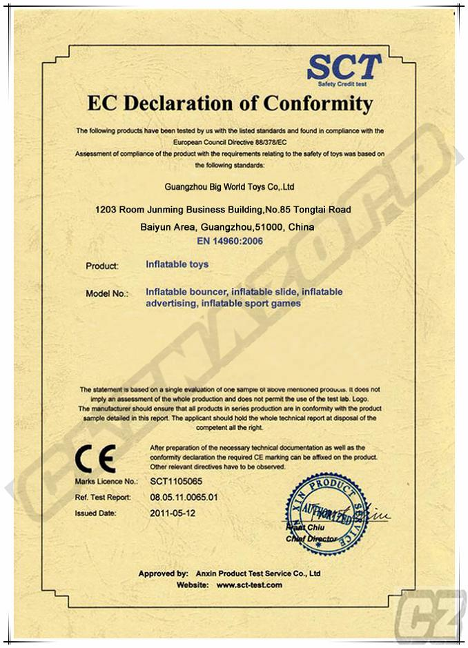 CE Certificates for Bouncy Castle,Slide,Fun City,etc. Inflatable Games/Toys