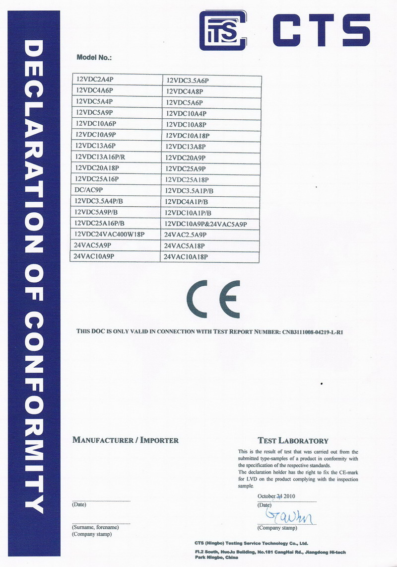 CE-LVD-Certificate for CCTV Power Supplies