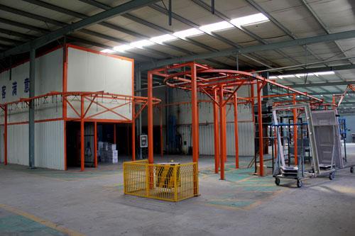 Powder coating system line