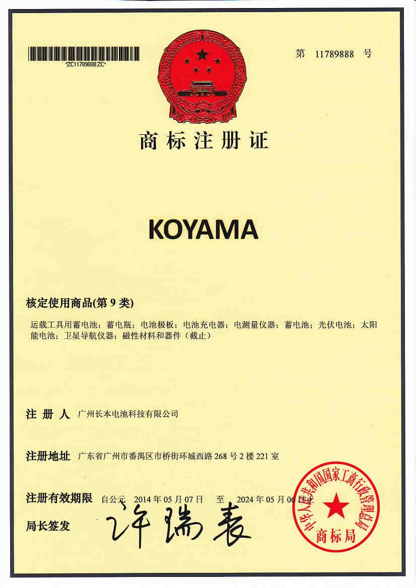koyama Trademark Registration Certificate