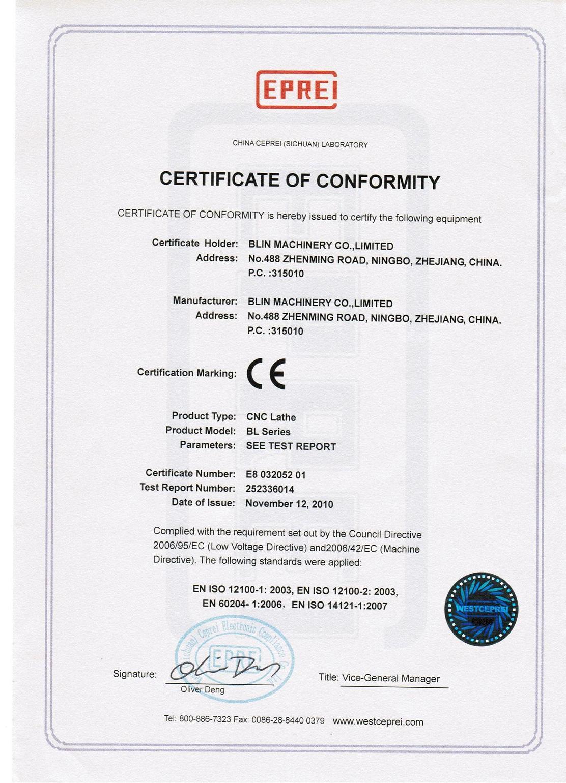 CE Certificate of CNC Lathe