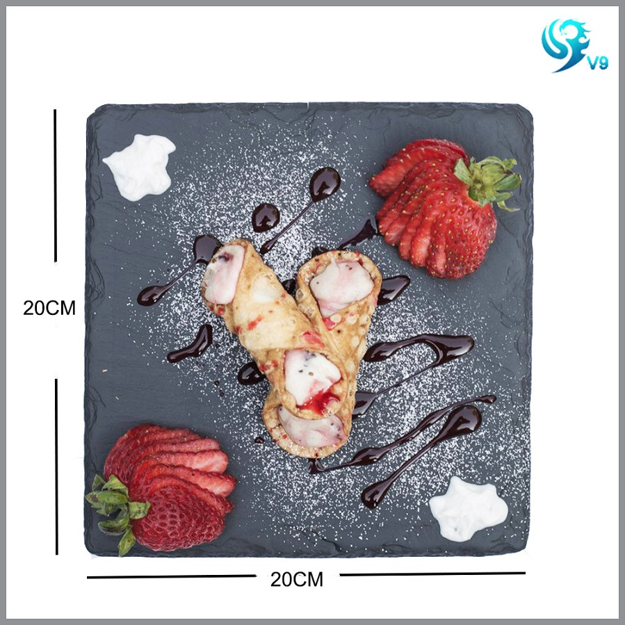 100% natural eco material black dinner slate plate