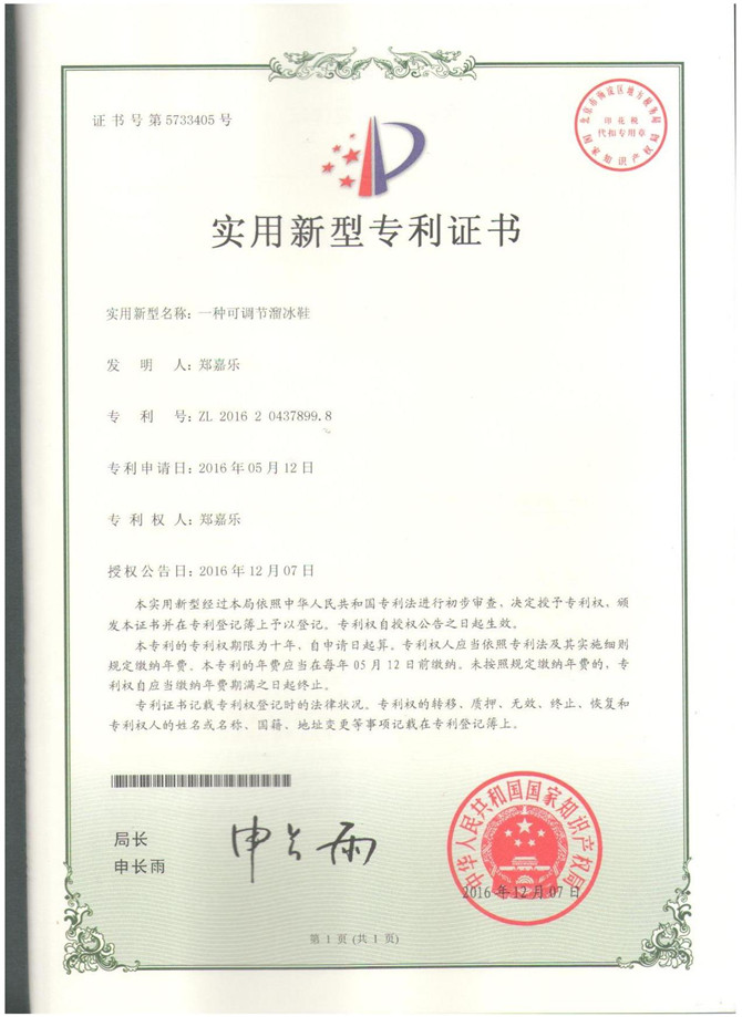 CERTIFICATE of PATENT of GS-001