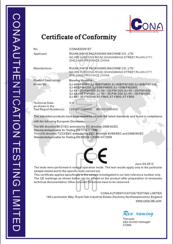 CE-Certificates of PE Blowing Machine