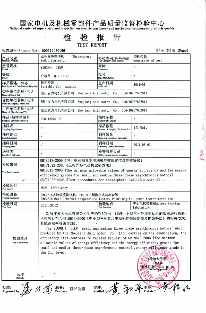 11kw Ie2 Test Report Wenling Xinnuo Electric Motor Co Ltd