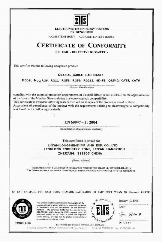 CE Certificates for all products