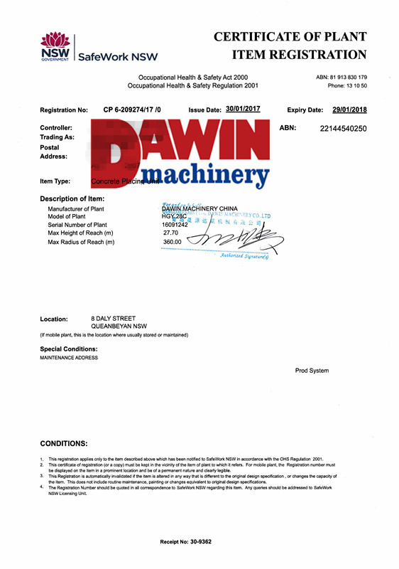 DAWIN Machinery Tower Placing Boom SafeWork Certificates for safe working on job sites (HGY28C)