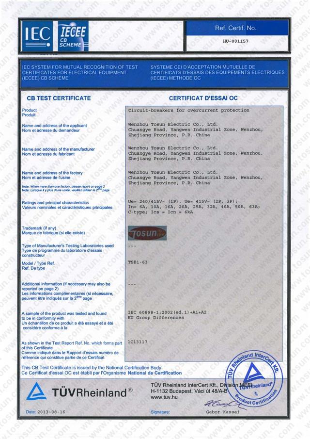CB Certificate of MCB
