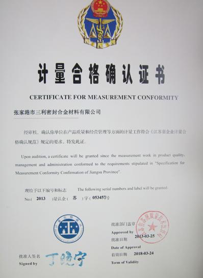 Certificate for measurement confirmity