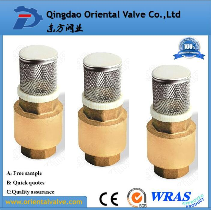 Brass In-Line Spring Water Check Valve Supplier For Air Compressor foot valve