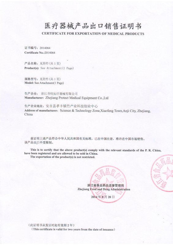 Certificate for Exportation of Medical Product