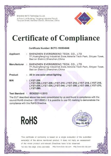 RoHS for solar street light