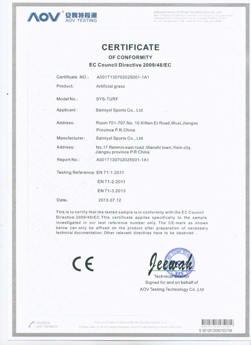 CE Certificate for Toys