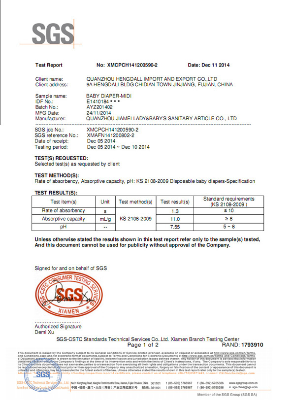 SGS Certfication