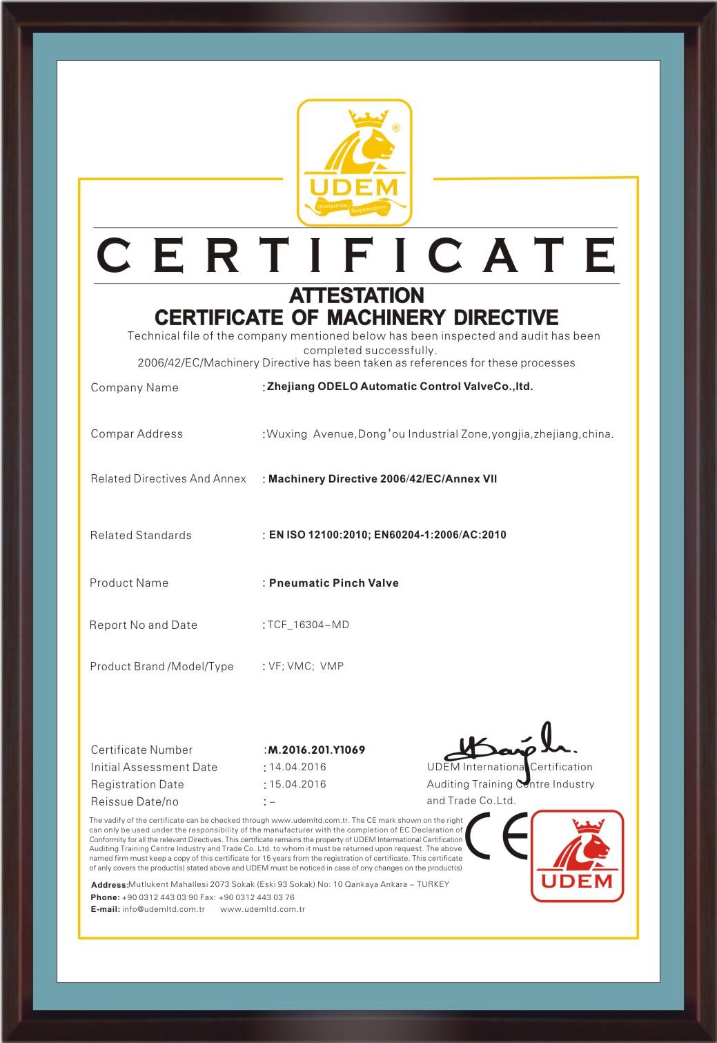 CE Certificate of VF, VMC, VMP Pinch valve