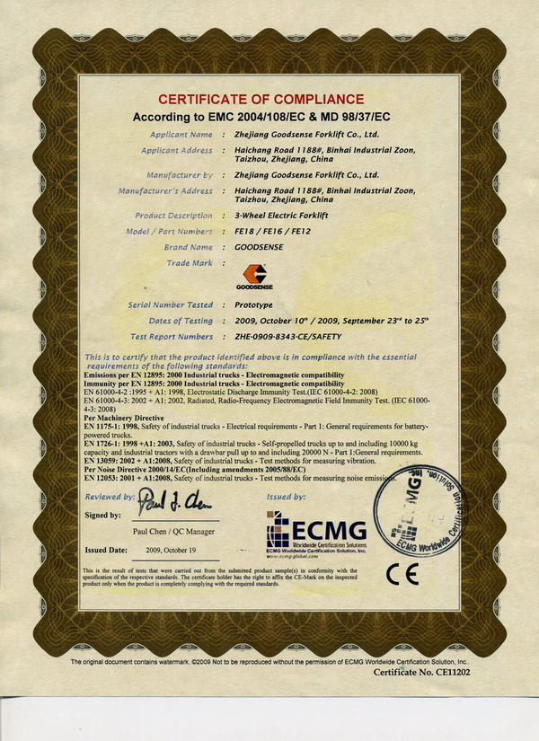 CE Certificate For Three-Wheel Electric Forklift