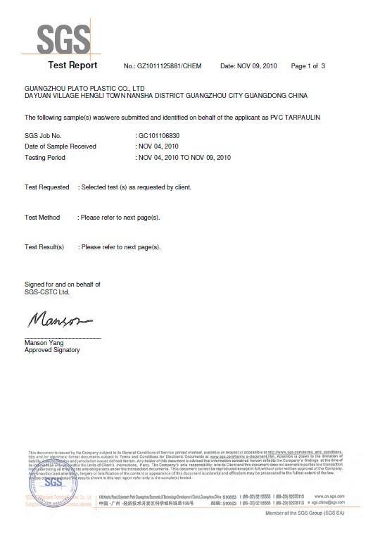 SGS certificate of of material