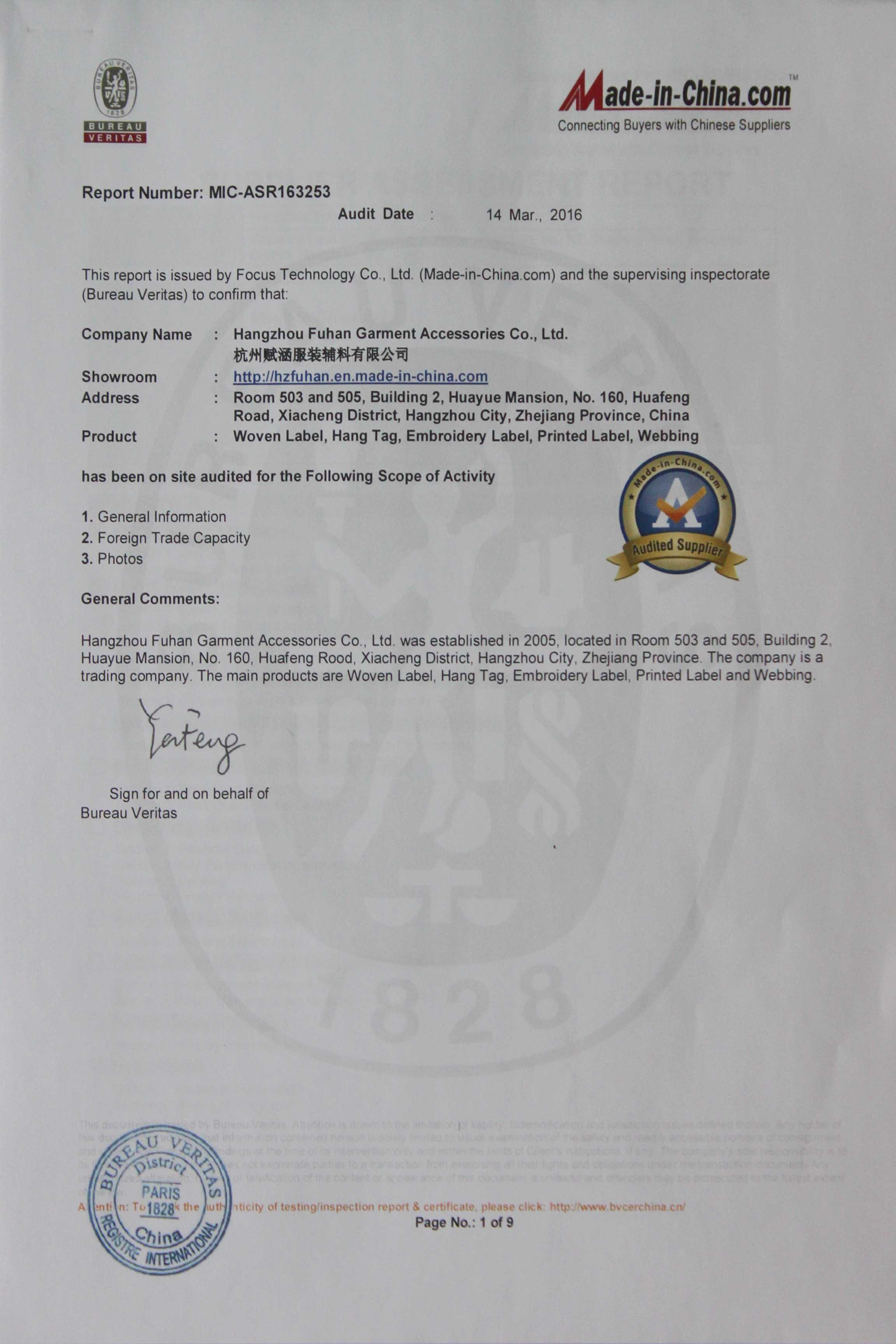 Fuhan Certificate of BV