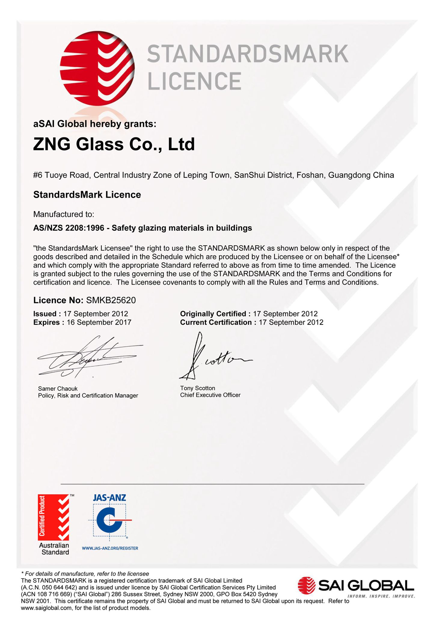 AS/NZS2208:1996-safety glazing materials in buildings for Australia Market