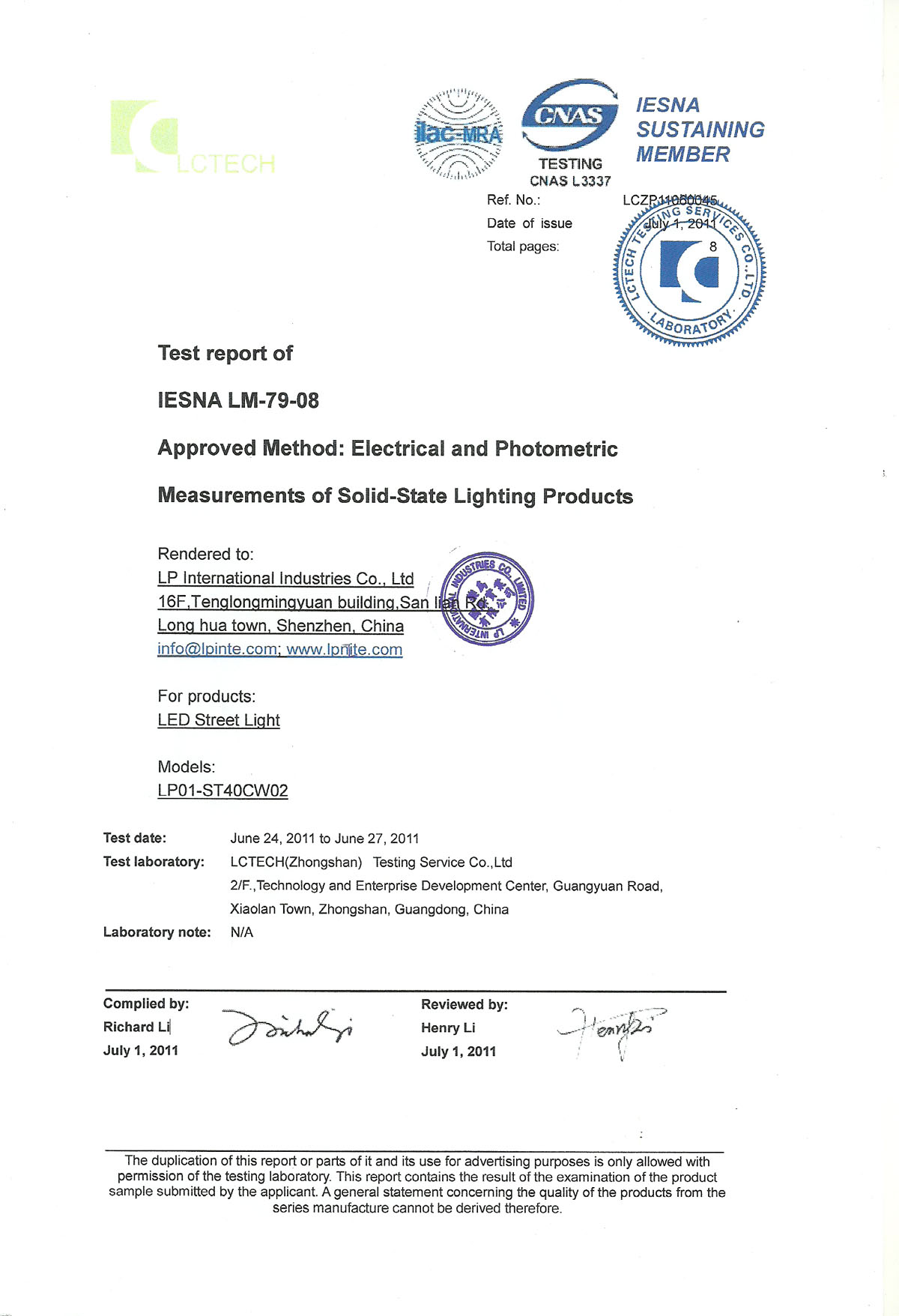 IESNA LM-79-08 40W streetlight