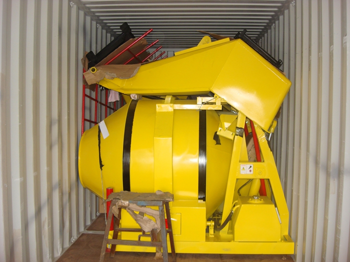 Container loading with concrete mixer